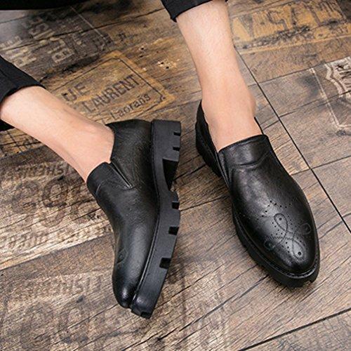Hommes Chaussures Mocassins en PU Cuir Brogue Bout Pointu Épais Semelle Antidérapant Loisir Rétro Derby Noir