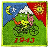 imzauber Bosque LSD Bicycle Day parche (20 cm, Negro Luz activo, handgestickt sin PC) arco iris Goa Patch, Bicycle Day LSD, large
