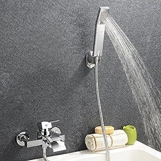 Kinse Grifo de Bañera Cascada con Mezclador de Ducha Monomando Ducha de Mano Set de Grifo para Bañera Diseño Moderno Latón Cromado