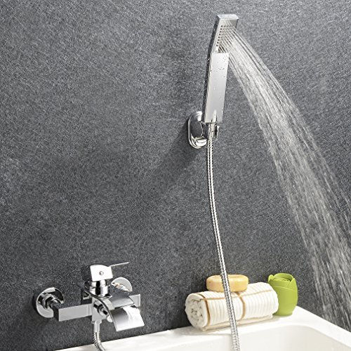 KINSE® Design Zeitgenössische Wasserfall Badewanne Wasserhahn - Wandhalterung mit Handbrause - Badewanne Wasserfall