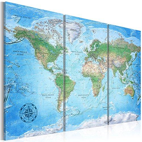murando - Weltkarte Pinnwand 120x80 cm - Bilder mit Kork Rückwand - Aktuelle Weltkarte 2017 mit allen Details - Leinwandbilder - Korktafel - Fertig Aufgespannt - Wandbilder XXL - Kunstdrucke - Welt Karte Kontinent Landkarte k-A-0127-p-e 120x80 cm