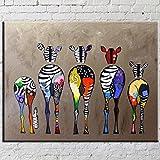 OMGO Dessin D'ornement Tableau Decoration Mural Peinture à l'huile Impression Sur Toile Art Moderne Sans Encadrement Zèbres Multicolore 70*50cm...
