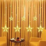 Lichterkette, 2,2 m, 108 LEDs, Sterne, LED, Lichterkette mit 8 Leuchtmodi, batteriebetrieben, für Weihnachten, Party, Hochzeit, Empfang, Schlafzimmer, Dekoration, Wanddekoration