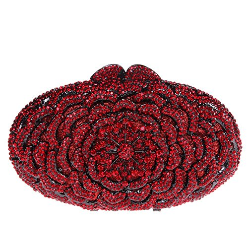 Damen Clutch Abendtasche Handtasche Geldbörse Funkelt Glitzer Kristall Luxus Oval Blüte Lang Tasche mit wechselbare Trageketten von Santimon(8 Kolorit) Rot
