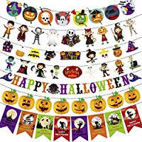 HYX 2019 Halloween Party Banner Decorations 7 different Banners with 68 Pcs different Spooky Bat Ghost Witches Pumpkin Skulls Bunting banner 3 Meters long for each banner, reusable.