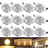 Hengda® 12 Stück 3W LED Einbaustrahler Set 210 Lumen Warmweiß Einbauleuchten,für Badezimmer Küche Flur Wohnzimmer Beleuchtung Silber matt