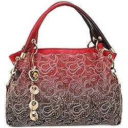 Greeniris Sequins PU Leder Handtasche Damen Henkeltaschen Stilvoll Schultertasche Rot
