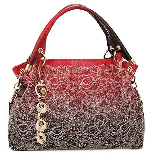 Greeniris Mode Faux Cuir Sacs à main portés épaule Femme rouge