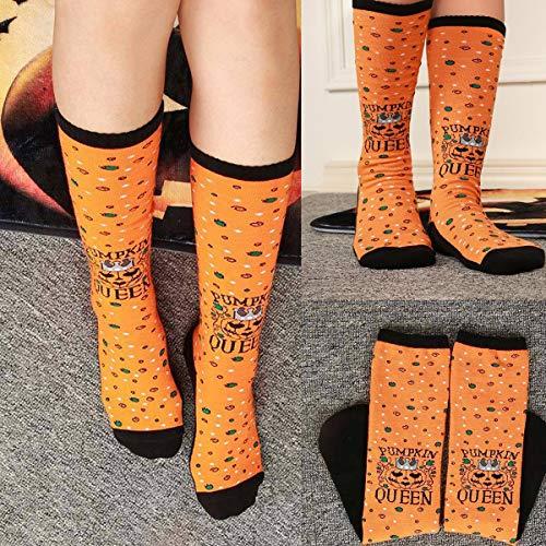 Jinxuny Halloween Herren Damen Pumpkin Lettera Druck Sockings saugfähige Socken Atmungsaktiv