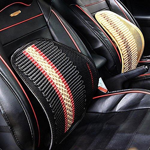 Prom-near - cuscino massaggiante per auto, estivo, in seta, a colonna vertebrale, traspirante, 42 x 44 cm, nero