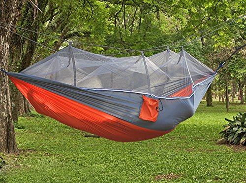 Medium image of suyi portable folding double parachute camping hammock mosquito   tree hammocks tent travel bedpremium quality lightweight  u0026 durable 210t nylon fabric