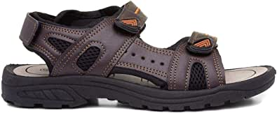 RED FISH Mens Brown Sport Touch Fasten Sandal