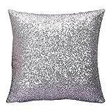 LSAltd Solid Color Glitter Sequins Kissenbezug, Sofa Schlafzimmer Kissenbezug Home Decor(40cm*40cm) (Silber)