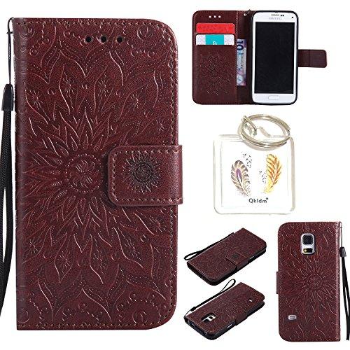 Preisvergleich Produktbild für Samsung Galaxy S5 Mini Geprägte Muster Handy PU Leder Silikon Schutzhülle Handy case Book Style Portemonnaie Design für Samsung GalaxyS5 Mini + Schlüsselanhänger/*18 (6)
