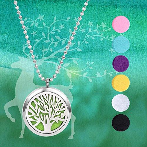 Meilanty Damen Halskette 60cm Tree of life Öle Diffusor Aromatherapie mit 6 Pads WZ-E01