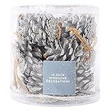 12?St?ck Silber Tannenzapfen Weihnachtsbaum Dekorationen mit Glitzer