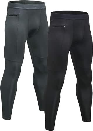 Niksa 2 Pack Men's Leggings,Zip Pocket Compression Tights Base Layer Gym Pants for Running Workout(Black Gray)