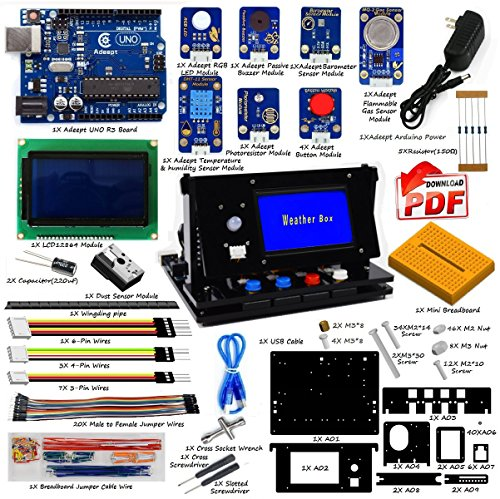 Adeept Indoor Environment Monitoring Kit | Weather Box Kit | Starter Kit for Arduino UNO R3 with Guidebook(PDF) and Code | UNO R3 Project Complete Starter Kit with Tutorial -