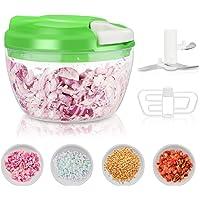 Telgoner Hachoir à légumes 3 lames mini-mélangeur à main rapide et facile à lancer mélangeur mélangeur pour salade de…