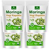 Moringa 500 oleifera 'veggie' altas dosis de 600mg cápsulas - 100% de alimentos crudos vegano (4x125)
