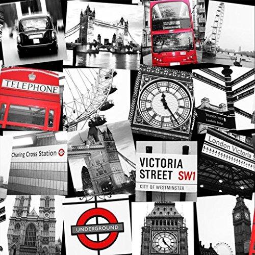 Fresco great value london underground london bridge montage black red wallpaper