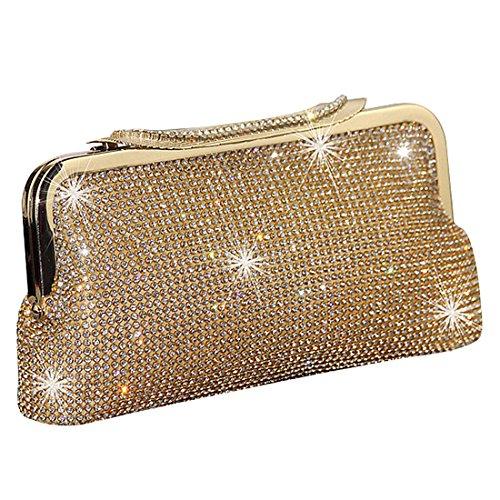 Luxus glitzer Damen Tasche Clutch Damentasche Abendtasche Party Hochzeit Handtasche Brauttasche mit Strass Satin (Gold)