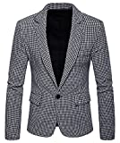 WHATLEES Herren Kariert Blazer Sakko - Anzug mit EIN Knopfverschluss BA0096-gray-M