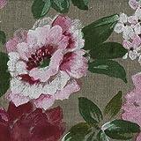 Leinenstoff - Blumen in voller Blüte | Grundfarbe: Natur, 100% Leinen, Stoffbreite: 140cm Meterware (1 meter)