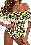 Damen Vintage Blumen Badeanzug mit Volant Ruffled Flounce Off Shoulder Sommer Badeanzüge Set Monokini Swimwear Tankini XL