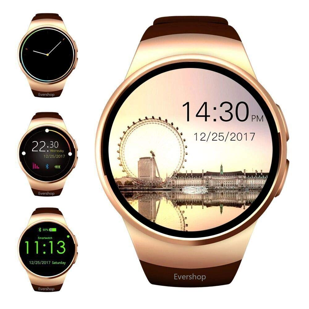 Evershop Smart Watch 1.5 inches IPS Round Touch Screen Waterproof Smartwatch Phone with SIM Card Slot, Sleep Monitor, Heart Rate Monitor and Pedometer for iOS and Android Device (Gold)