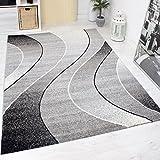 Alfombra Moderna De Diseño Alta calidad Elegante Gris, Negro, Blanco, Friso - Fácil de cuidar y Calidad Superior - Gris, gris, 80 cm x 300 cm