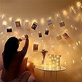 Fulighture Luci per Foto, Appendi Foto, 6m 40LED 40 Clip, Luci LED a Batteria, con Mollette Filo, Lucine LED Decorative per C