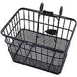 Ohuhu® Rust-Prueba Rápida Frente Lanzamiento del Manillar de la Bicicleta Lift Off Basket / Malla de Alambre Bike Cesta con Holder, Rejilla Inferior, Negro