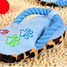 philna12 Novelty Slipper Forma Pet Puppy Plush Sound Chew Squeaky Slipper juguete (cielo Azul)