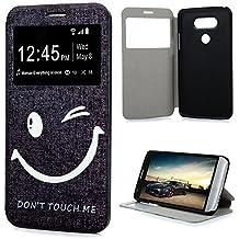 YOKIRIN LG G5 Housse Étui, Coque en PU Cuir Ultra Léger Slim Mince à Rabat Support avec Fenêtre Vue Window View Repondre sans Ouvrir Portefeuille Simple Housse LG G5 Coque Case - Don't Touch Me