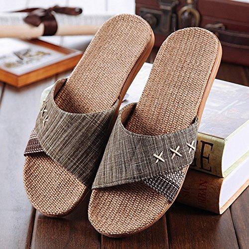 Aemember Piano Casa biancheria pantofole in ufficio, gli uomini e le donne in estate, fondo spesso antiscivolo Home Pantofole Brown green