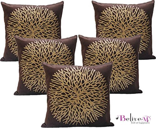 Belive-Me Printed Designer Velvet Brown Cushion Covers Set of 5 (16x16 Inches...