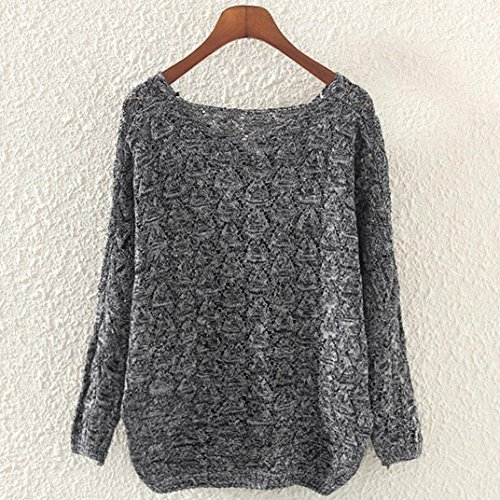 5466d187ea Women Knitted Jumper Kangrun Long Sleeve Knit Pullover Loose V Neck Sweater  Ladies Oversized Knitwear T-Shirt Cosy Thin Tops Baggy Spring Hollow Out ...