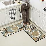 MKSFY Rutschfeste Absorbierende Bodenmatte Tür Streifen Dünnschliff Set Teppich Matte für Badezimmer Küche Studie Schlafzimmer Korridor Eingangstür Wohnzimmer Blau, Zweiteilig
