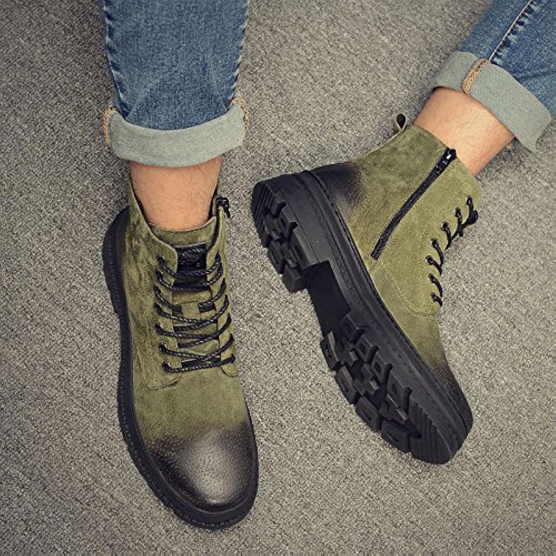 HL-PYL-Zapatos de hombre Martin botas zapatos altos All-Match mate.,42,verde