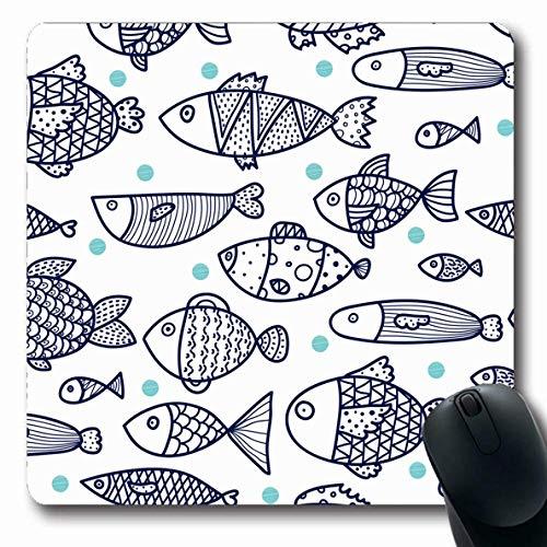 Luancrop Mousepads für Computer Life Blue Water Cute Line Fisch Vintage Angel Aquarium Comic Dark Design Dot rutschfeste Oblong Gaming Mouse Pad