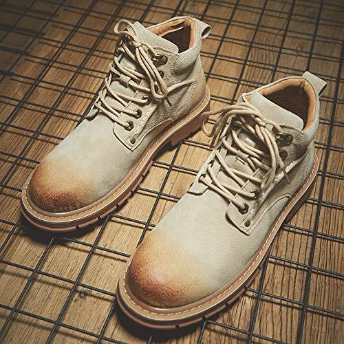 LOVDRAM Stiefel Männer Herren Martin Stiefel Herren Wild Winter Cotton High-Top Schuhe Stiefel Tooling Erhöhte Pu Schnee Stiefel, 42, Beige -
