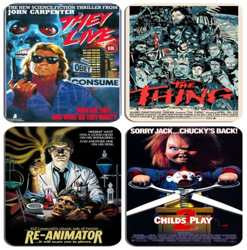 Classic 1980s Horror Movie Poster Coasters, Set Of 4