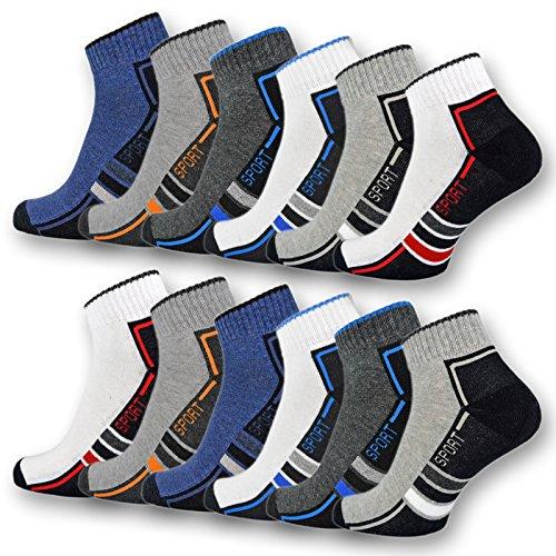 sockenkauf24 6 oder 12 Paar SPORT Sneaker Socken mit Frotteesohle verstärkt Herrensocken Sportsocken - 16215/20 (39-42, 12 Paar | Farbmix)