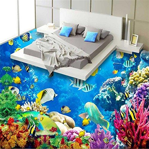 Lqwx Stock Wandbild Tapeten Meer Fisch Wasser Welle Badezimmer 3D Stock Wandbild PVC Wasserdicht Selbstklebende Tapete Home Decor-200cmX 140cm