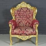 Casa Padrino Barock Sessel 'King' Bordeaux Rot Muster/Gold - Antik Stil Möbel