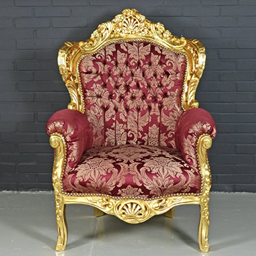Casa-Padrino Sillón Barroco 'King' Bordeaux Red Pattern/Gold - Estilo Antiguo Muebles
