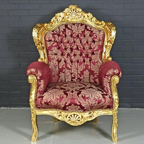 Barock Sessel Rot Antik Stil 'King' Bordeaux Rot Muster/Gold - Casa Padrino Möbel