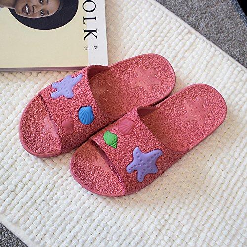 DogHaccd pantofole,Il bagno ha una parte antiscivolo ciabatte da bagno soft home fondo interno di pavimenti in legno e plastica a casa un paio di pantofole fresca estate Il rosso2