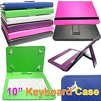 Keyboard Case Leather Folio Wallet Cover Pouch With Desktop Stand /& Capacitive Touch Screen Stylus Pen 10.1 Inch iTechCover/® Alba 10 Inch Wi-Fi Tablet Red Universal Range